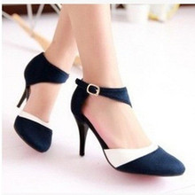 2016 hot selling sexy big size(3 to 12) buckle-strap patchwork nubuck leather cover heel 8.5cm high heeled shoes red/blue/black