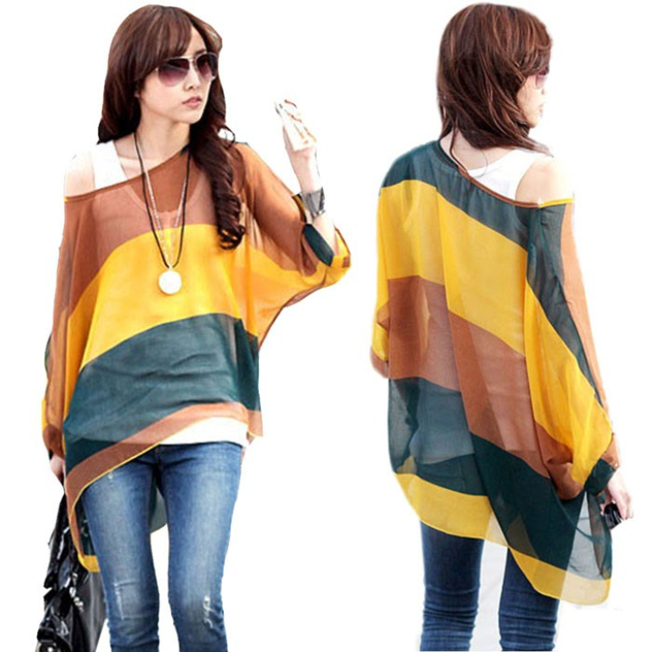 Creative Hot Women Summer Blouse Tops Cover Up Batwing Dolman Sleeve Chiffon Boho Loose Blouse TopsОдежда и ак�е��уары<br><br><br>Aliexpress