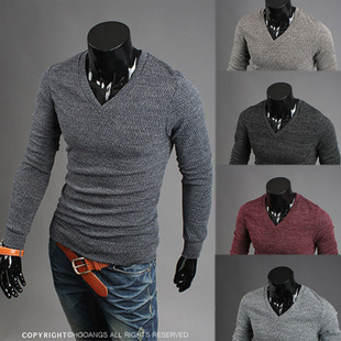 2015 The New High-Quality Men'S Fashion Casual Long-Sleeved Sweater V Collar pullover men M13(China (Mainland))