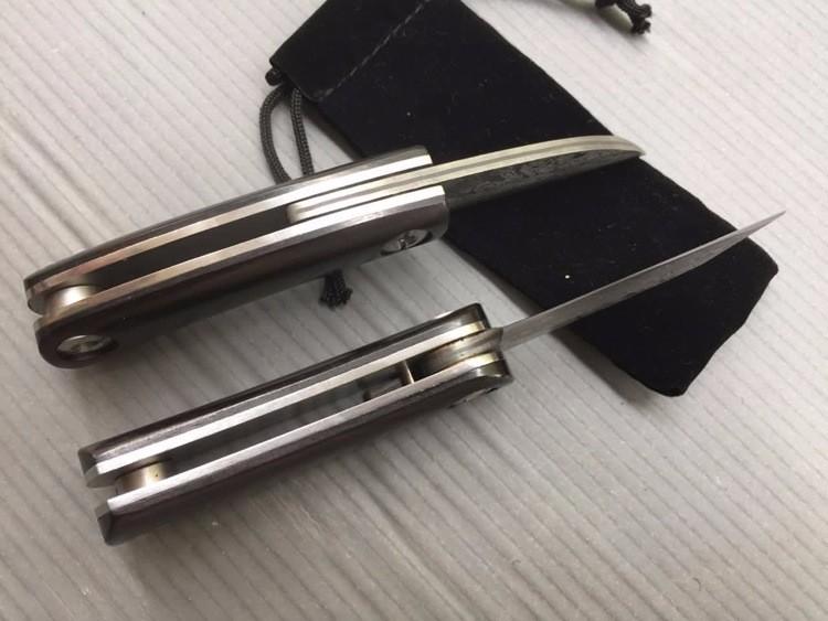 Buy ZAOCHUNDAO Damascus Knife Tactical Folding Knife Small Survival Knives Black Wood Handle Sharpest cheap