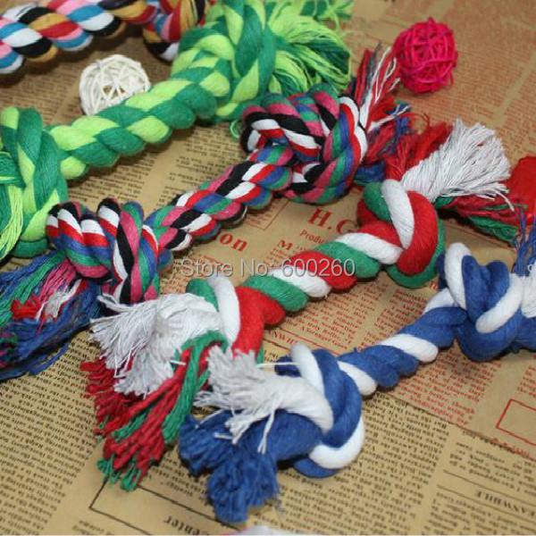 Hot sales Pets dogs pet supplies Pet Dog Puppy Cotton Chew Knot Toy Durable Braided Bone Rope 17CM Funny Tool free shipping(China (Mainland))