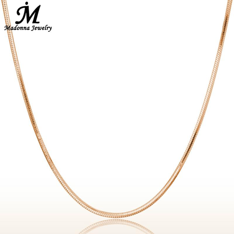 Fashion 18 Inch Men Women Snake Chain Necklace 18K Rose Gold Plated For Women link jewelry chain gift Pendant Parts Wholesale(China (Mainland))