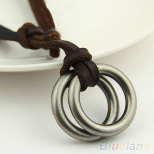 Retro Hot Sale Circle Charm Pendant Brown Genuine Leather Necklace Cord Men's Women's 1FQG(China (Mainland))