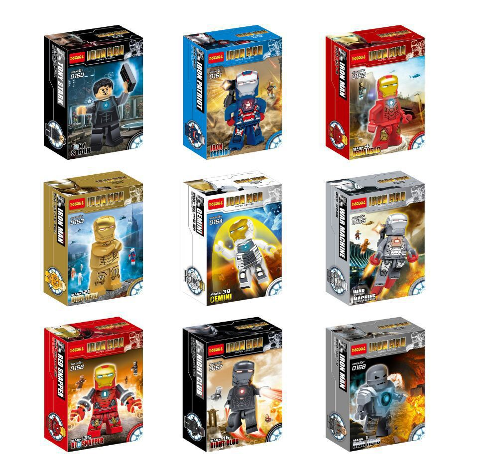 DHL Wholesale 60lot Decool 0160 0168 Building Blocks Super Heroes Minifigures Iron Man Bricks Figures Toys