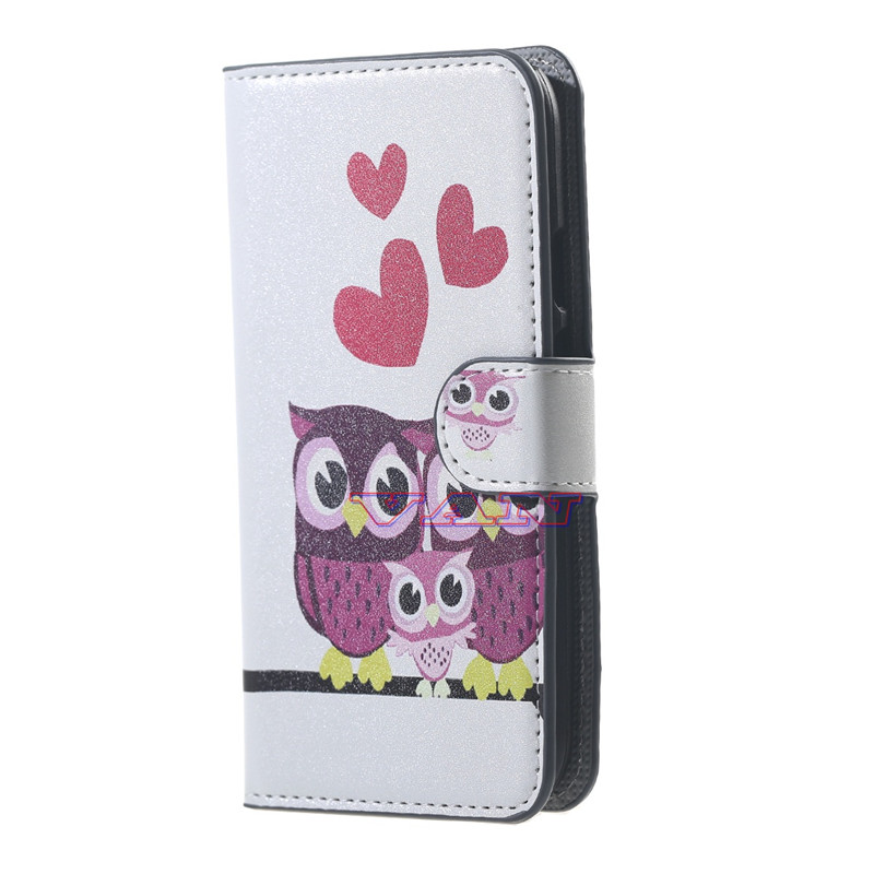red love&cute owl for Samsung Galaxy J5 SM J500F android phone cases flip leather wallet elephone case for J 5 J500F case cover(China (Mainland))