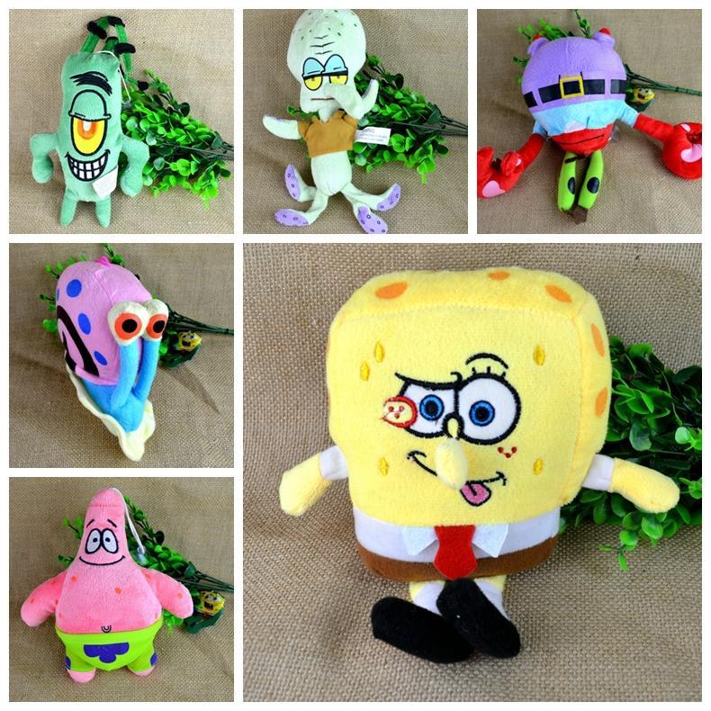 6pcs/set Pelucia Soft Plush Spongebob Patrick Star Squidward,Tentacles,Mr. Krab,Sheldon Plankton Gary Toys gift for children(China (Mainland))