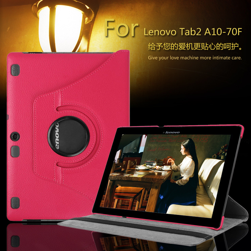 for Lenovo Tab 2 A10 70 10.1 Tablet case 360 Rotating for Lenovo A10-70 A10-70L A10-70F Stand Leather Protective Tablet Cover(China (Mainland))