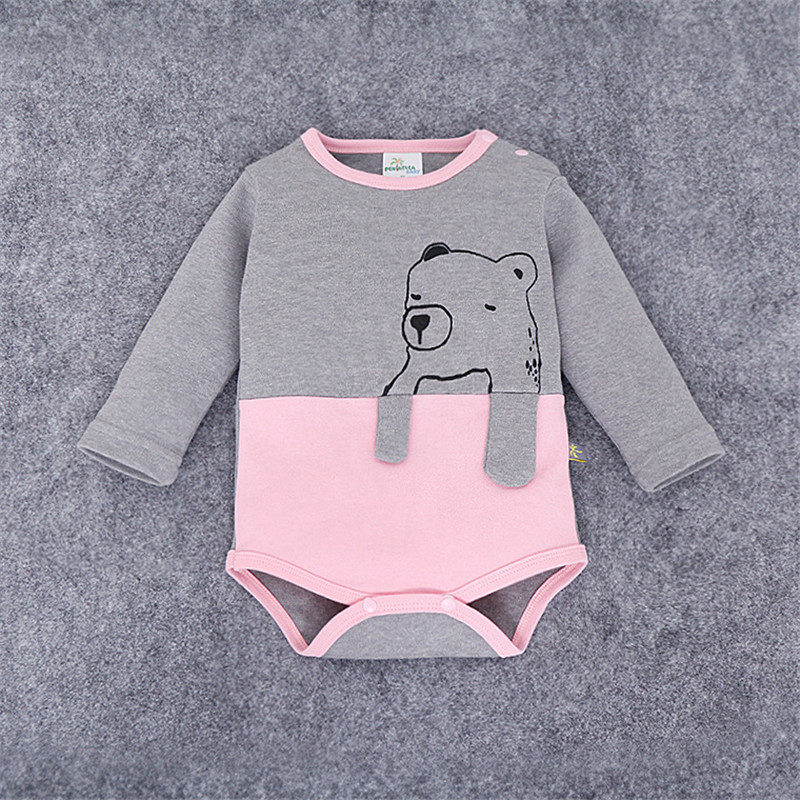 Autumn Winter Baby Bear Shape Patchwork Combed Cotton Jumpsuits Boy Girl Clothes Infantil Romper Newborn Coveralls Next Rompers(China (Mainland))