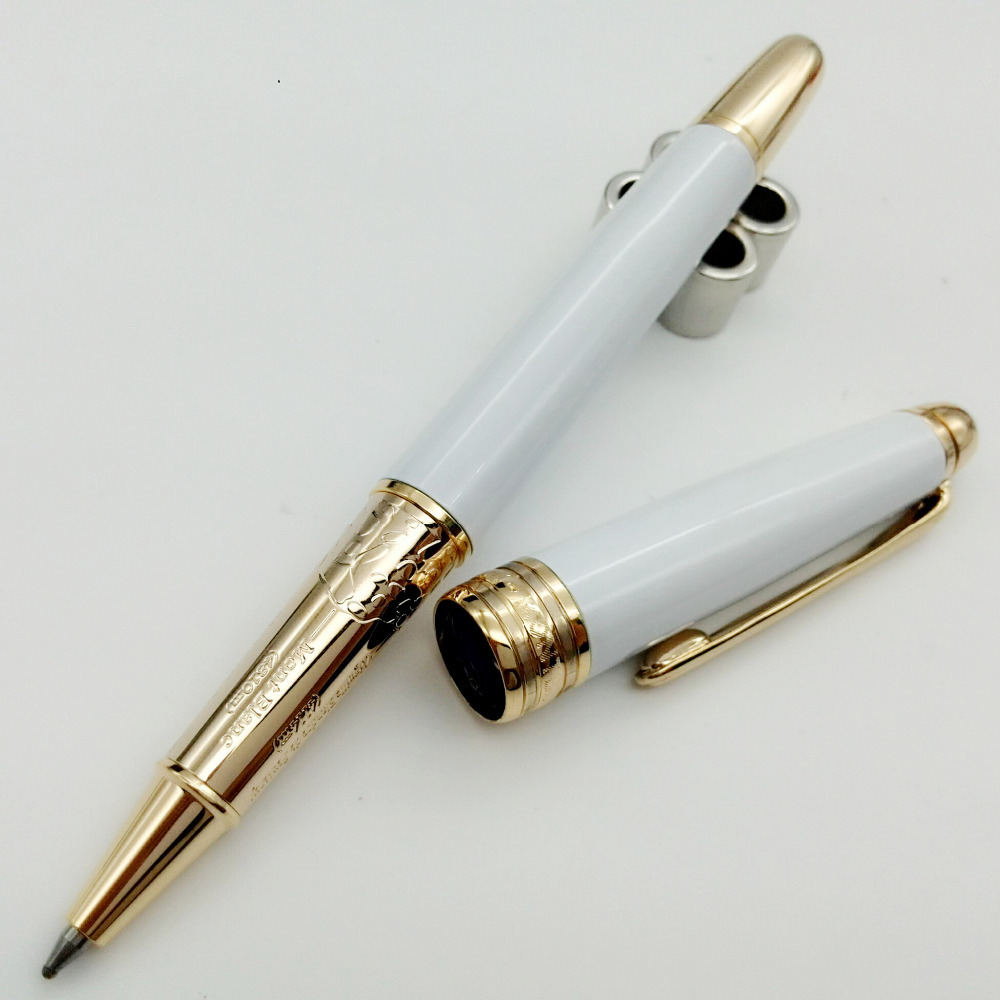 Classic desigh- Luxury White Ball Pen,Stationery office supplies metal writing pens with gold clip(China (Mainland))