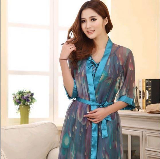 Promotion ! 2014 autumn 2 pcs silk women pajamas robe and gown sets plus size women cardigans(China (Mainland))