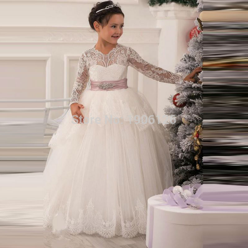 Puffy kids ball gown dresses ivory long sleeve flower girl for Dresses for teenagers for weddings