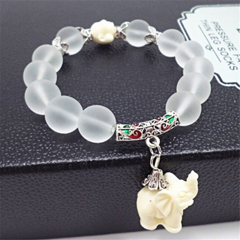 1 Piece New Women Natural Matte Crystal Bracelets Fashion Super Sweet Elephant Bracelet For Women Fashion Jewelry(China (Mainland))