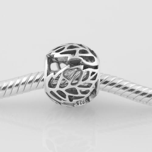 Подходит пандора оригинальный подвески браслет стерлингового серебра 925 бусины полые лист шаблон европейский шарм DIY ювелирных изделий