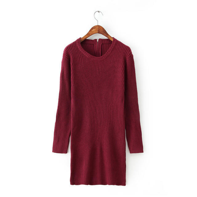 2015 Autumn Winter Women Knitted Sweaters Loose Pullover in Women's Dresses Gray and Red Crochet Dress Vestido Casual Vintage(China (Mainland))