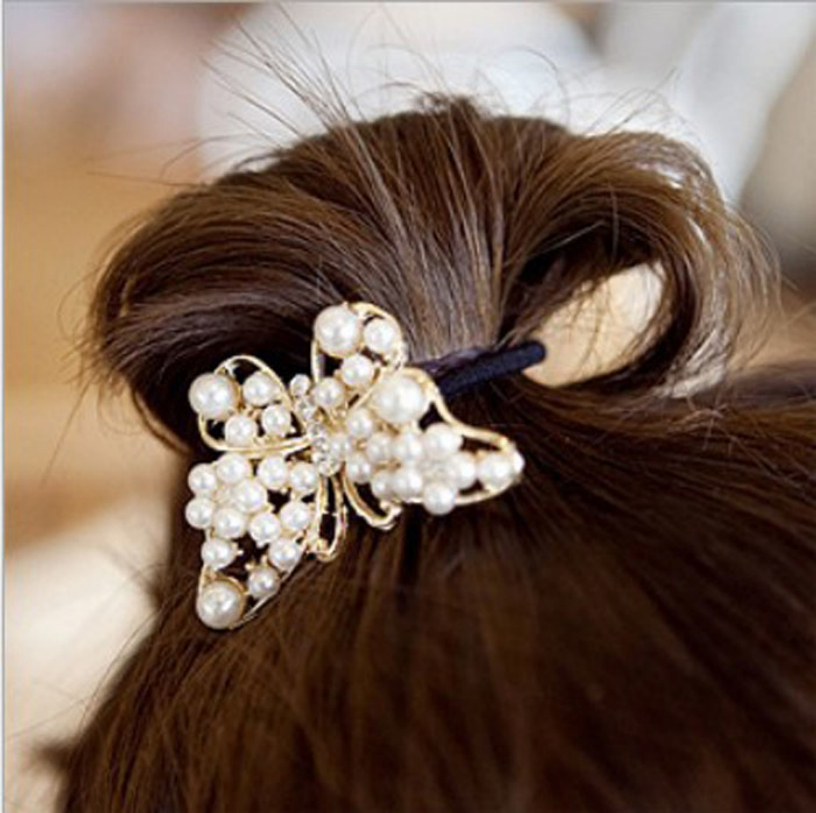 Best Deal Fashion Trendy Sweet Butterfly Pearl Crystal Rhinestone Ponytail Holder Hair Rope Band for Women Lady Perfect Gift 1PC(China (Mainland))