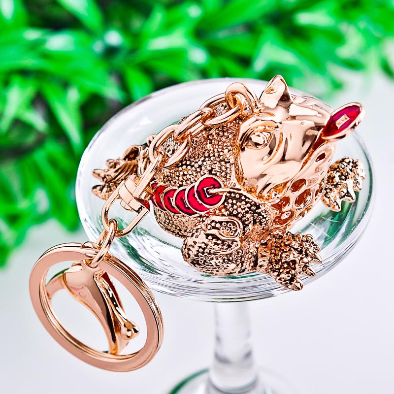 Three legged toad car frog keychain crystal key chain male women's handbag lovers gift lucky evil spirits(China (Mainland))
