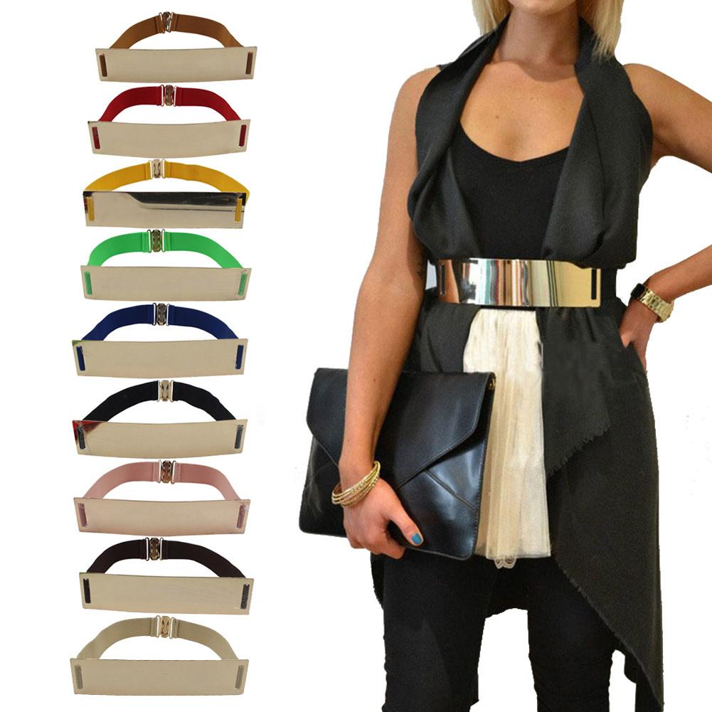 Elastic Mirror Metal Waist Belt Metallic Bling Plate Wide Band For Women Ladies Accessories HB88(China (Mainland))