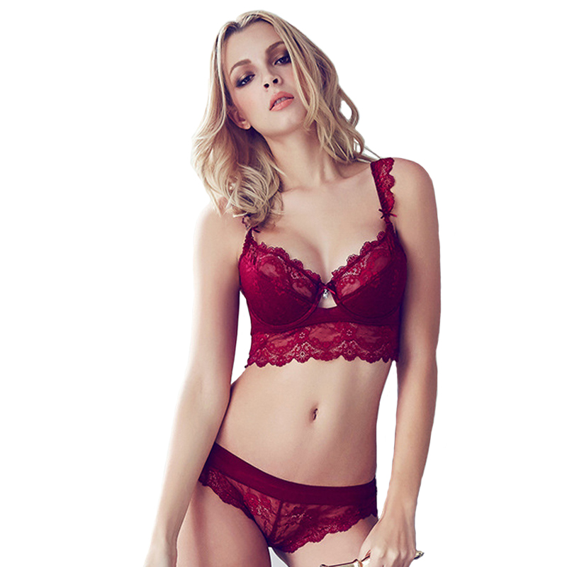 Women's Sexy Bra Set Ultra-thin Red Lace Bra Brief Sets Plus size Brassiere Push up Bra and Panties Female Underwear Set Winter(China (Mainland))