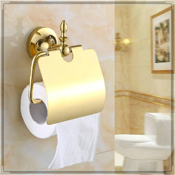Three holes gold finish toilet paper holder wall mounted tissue holder torneira eletrica - Gold toilet paper holder stand ...