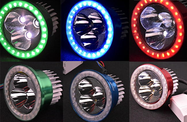 New Auto Motorcycle 12-80V LED ultra light electric vehicle headlamps built-in 3 laser motorcycle angel eye LED headlight(China (Mainland))