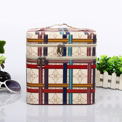 cosmetic bags korean jewelry case large capacity double retro portable storage box factory outlet handbags bag dressing Trunk(China (Mainland))