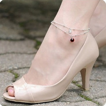 Ankle chain bracelet foot silver plated beads pendant anklets Elegant Bamboo chain anklet Twisted rope tornozeleira for women(China (Mainland))