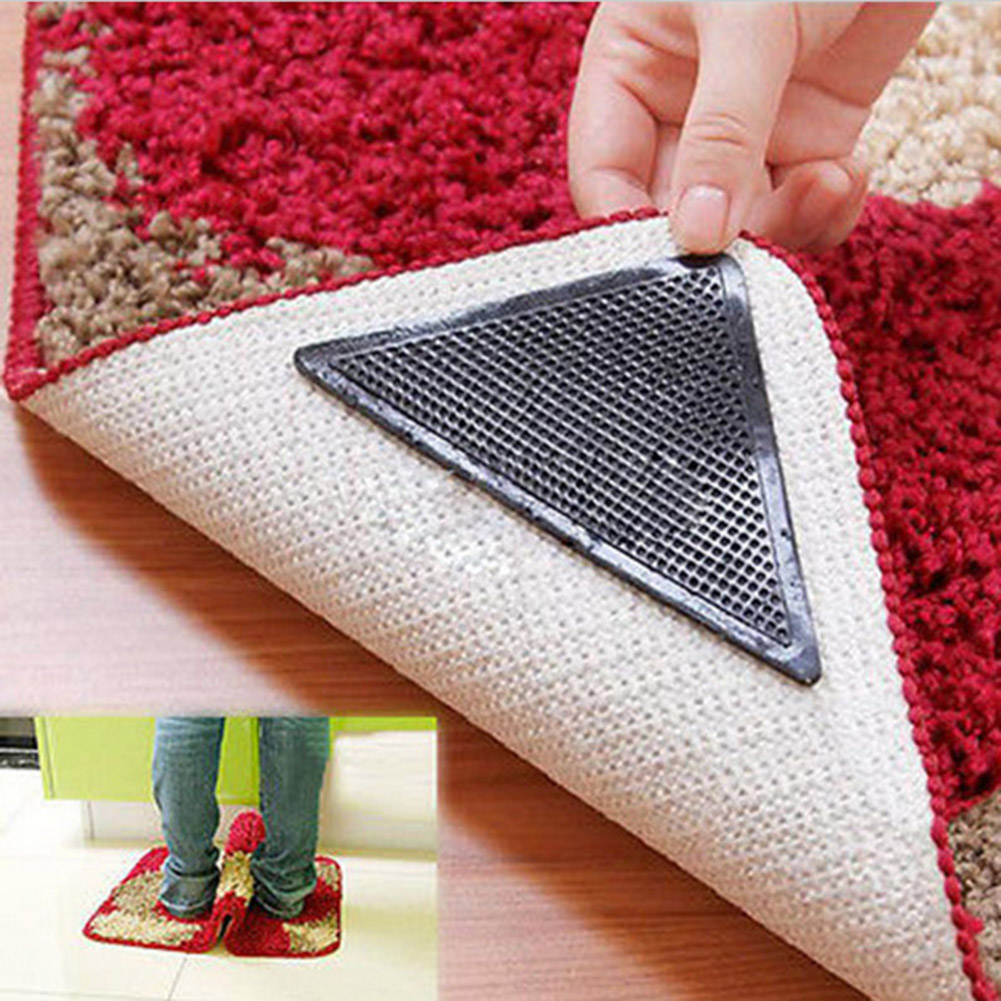 4 Pcs Rug Carpet Mat Grippers Non Slip Reusable Washable Silicone Grip Slip stickers Bathroom(China (Mainland))
