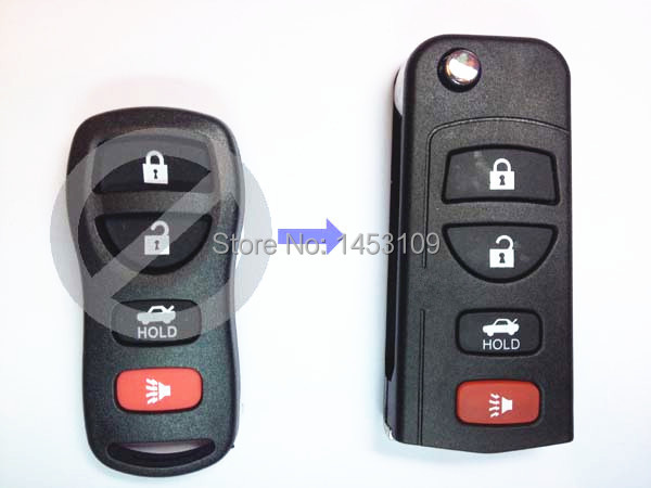 Wholesale KEYLESS ENTRY REMOTE Car KEY SHELL CASE For 2002-2006 Nissan Maxima Altima Sentra 4/3+1PANIC BUTTON(China (Mainland))