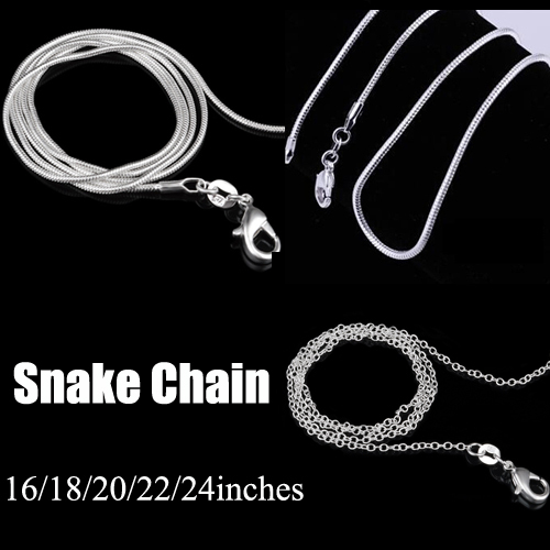 2016 silver jewelry necklace 16 18 20 22 24 inches Lobster Clasp silver snake chain necklace for women men(China (Mainland))