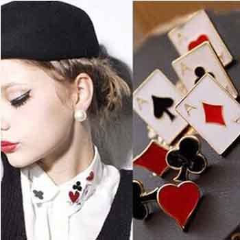 HOT SALE Wholesale Prices Brand New Punk Style Brooches Mini Brooch Lovely Modern Playing Card element Collar Flower Accessories(China (Mainland))