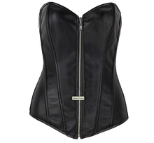 Sexy Women Zipper Steampunk Corselet Strapless Waist Training Leather Corset Body Shapewear Bustier Overbust Corset