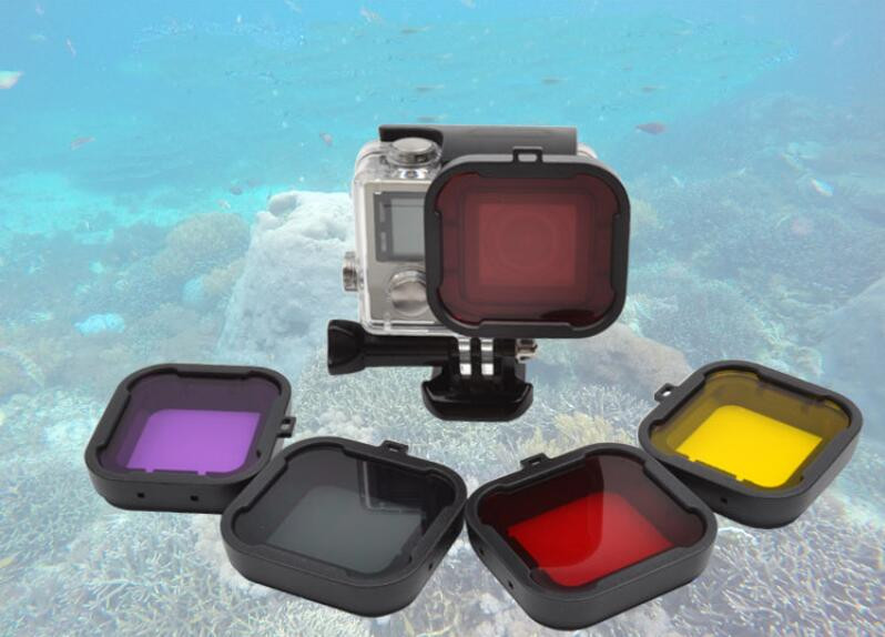 4pcs a lot Gopro Accessories Diving Filter Underwater Dive Filtors for Go Pro Hero 3+ 4 Xiaomi Yi Waterproof case Action