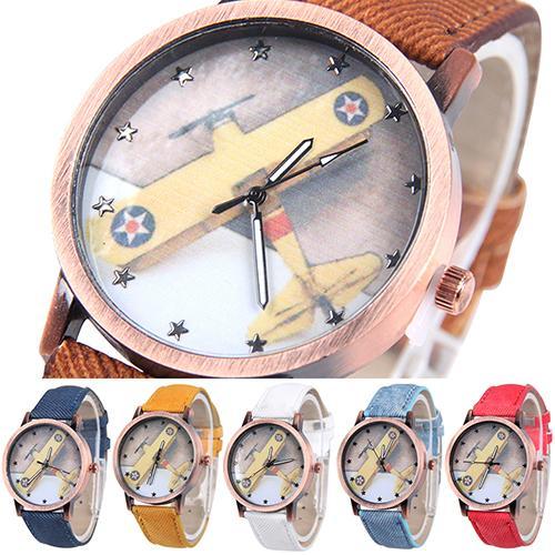 Unisex Men Women Vintage Casual Airplane Denim Strap Quartz Analog Wrist Watch <br><br>Aliexpress