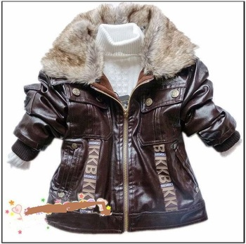 Retail 2015 New Spring Fashion Children Cotton PU Leather Clothing With Fur Collar Boys Jackets Outerwear Baby Kids Clothes Coat