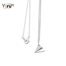 Min 1pc Gold and Silver Origami Plane Necklace Pendant Long Chain Small Pendant Elegant Jewelry Women