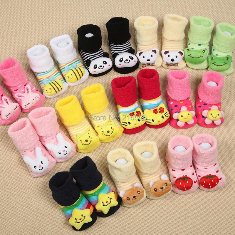 6 pairs/lot Baby Animal Socks Newborn Baby Boys Outdoor Shoes Infant Girls Anti-slip Walking Children Warm Sock kids Gift(China (Mainland))