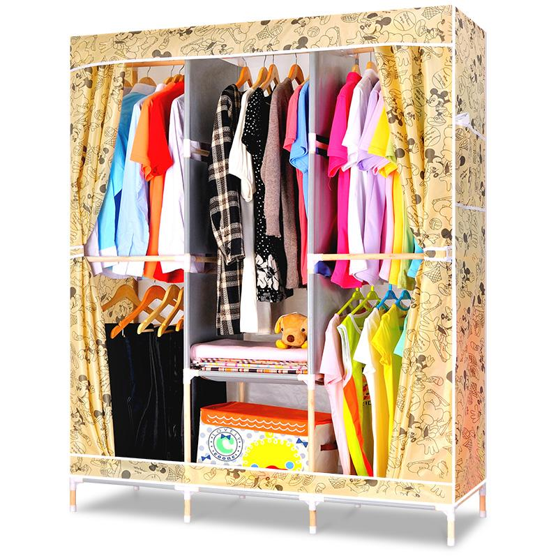 YoHere 1New Simple solid wood oxford folding fabric Fold can washing wardrobe close bedroom home modern closet clothes furniture(China (Mainland))