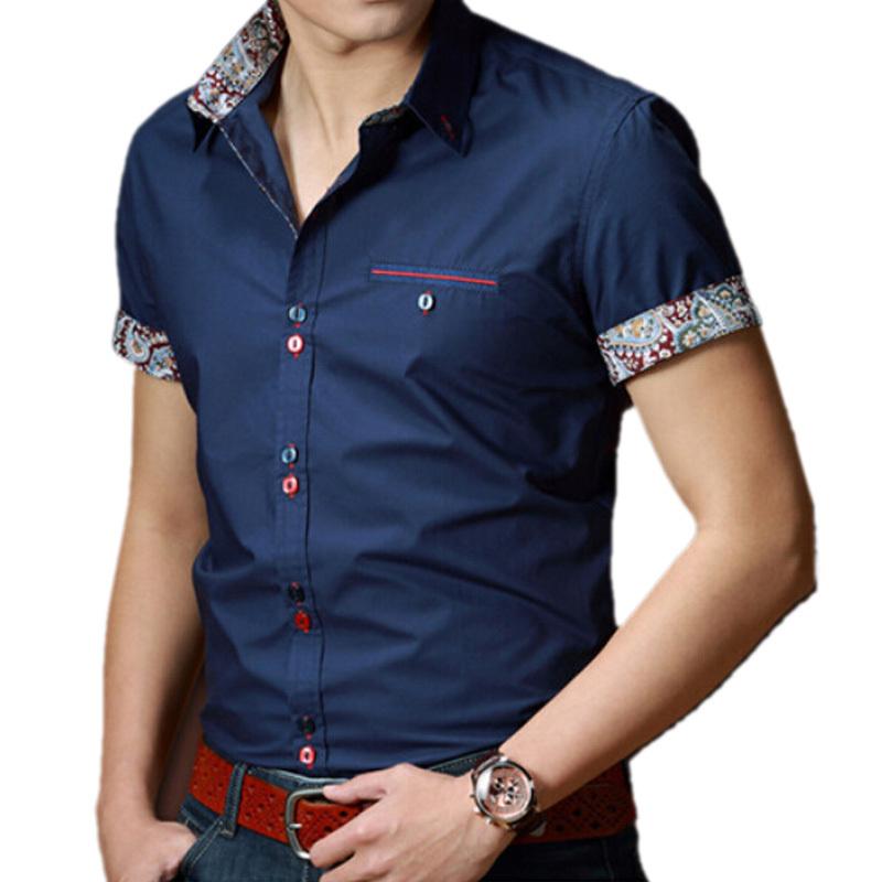 2015 Summer Men Short Sleeve Solid Brand Shirts Men's Casual Slim Fit Cotton Shirt Plus Size Male Shirt Mens Dress Shirts M-XXXL(China (Mainland))