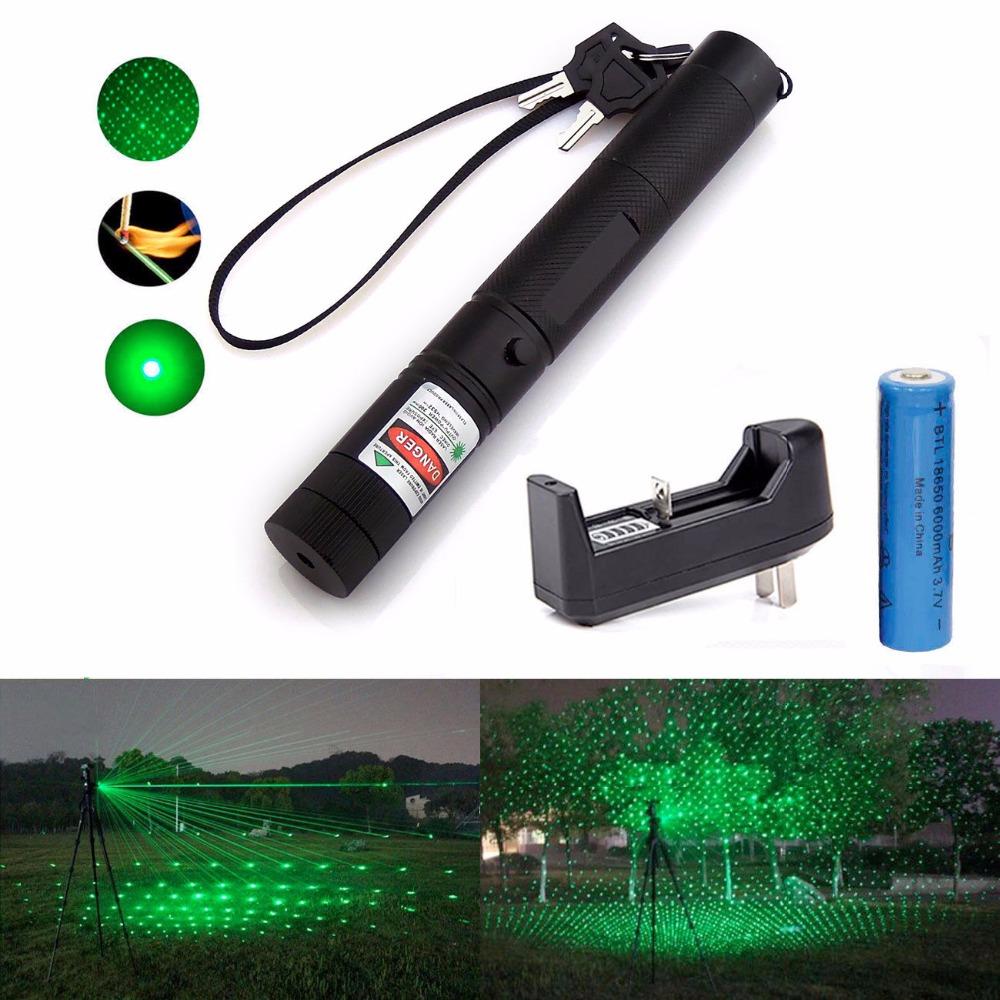 Military 532nm 5mw 303 Green Laser Pointer Lazer Pen Burning Beam +18650 Battery Burning Match+Charger(China (Mainland))