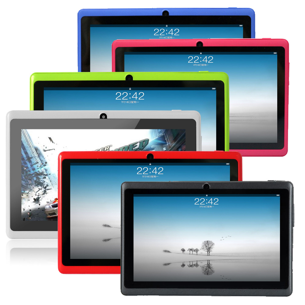 """Shipping from USA Yuntab 7"""" A33 Quad Core 1.5GHz four Colors Q88 7 inch Tablet PC 1024 x 600 Dual Camera 2800mAh 8GB(China (Mainland))"""