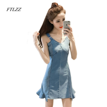 Buy 2017 Summer New Women V Neck Spaghetti Strap Denim Dress Sexy Slim Vintage Short Design Party Dress for $17.90 in AliExpress store