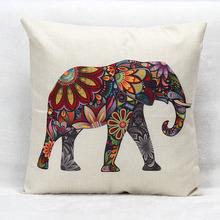 Colorful Elephant Cotton Linen Cushion Cover