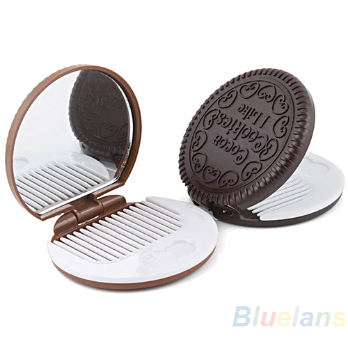 Cute Cookie Shaped Design Mirror Makeup Chocolate Comb  1DKN(China (Mainland))