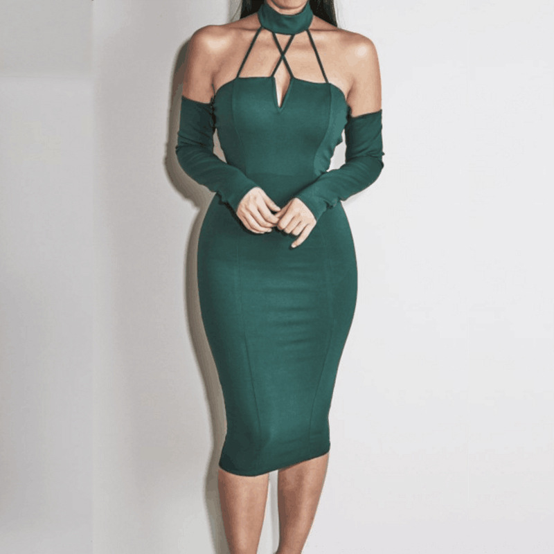 TMELAINE S-L Size Halter Neck Robe Sexy Long Sleeve Club Dress Off Shoulder Backless Bandage Bodycon Party Dresses TMD126(China (Mainland))