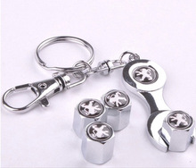 4pcs/pack Car Styling Car Wheel Tire Valve Caps with Mini Wrench & Keychain for Peugeot 301 3008 508 408 307 Auto Accessories(China (Mainland))