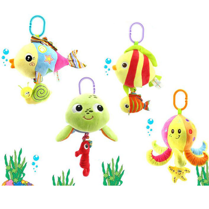 28cm soft stuffed sea animal plush Toy baby rattles cartoon car hanging strollers musical toys octopus turtles tortoises fish(China (Mainland))