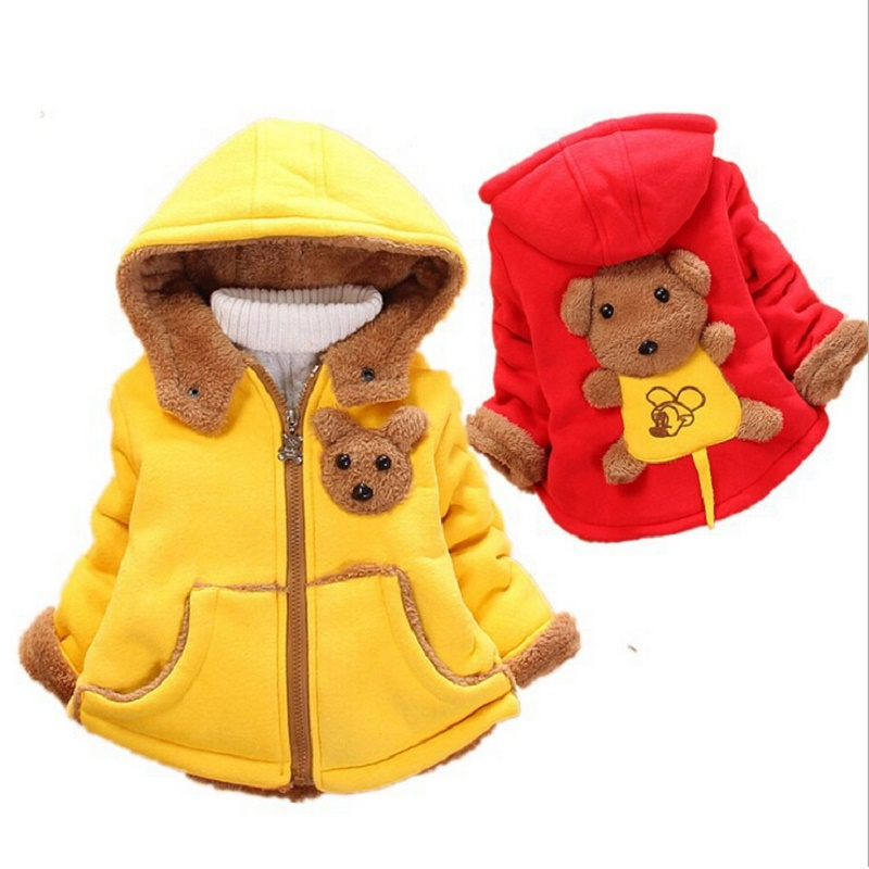 2016 Child Sweater Cotton Little Bear hoodies Children Winter Outwear Kids Baby Warm Coat child's Christmas clothes(China (Mainland))