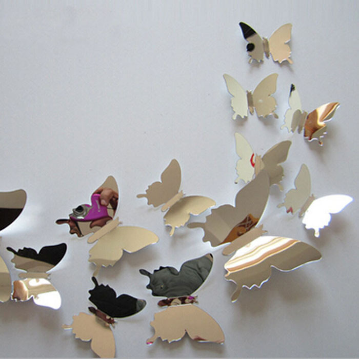 12Pcs Vinyl 3D Removable Decorative Silver Butterflies Wall Stciker For Kids Room Christmas 3D Art Wall Decals Home Decor(China (Mainland))