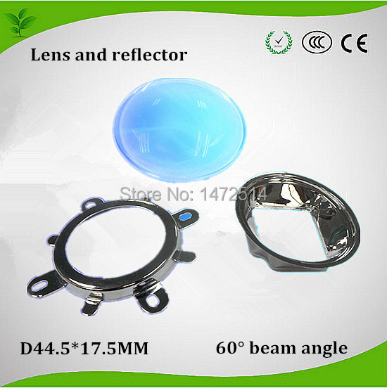 2014 Secondary optical 44.5mm glass lens with reflector cup for 20w-150w high power led super intensity 60 beam angle(China (Mainland))