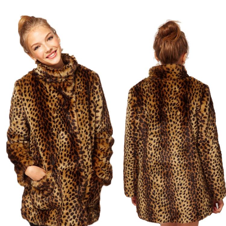 2017 Women Leopard Fur Coat Double Faced Fur Raccoon Fur Imitation Mink Hair Soft Keep Warm Lady Leopard Print Animal MT313(China (Mainland))